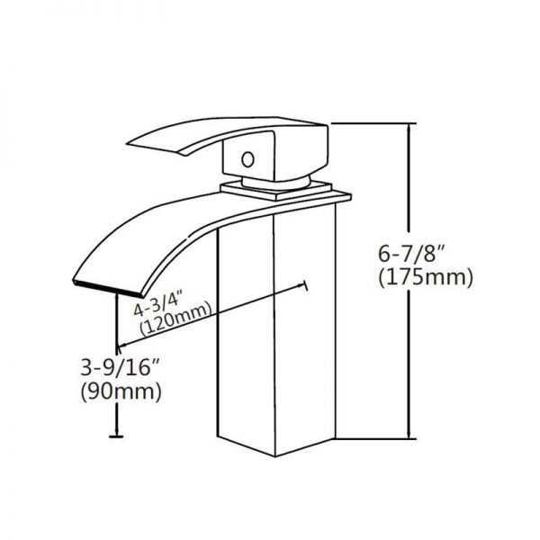 Square Waterfall Chrome Basin Mixer 2