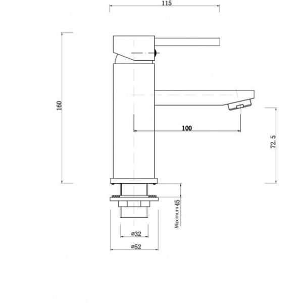 LUCID Pin Lever Round Black Basin Mixer 2
