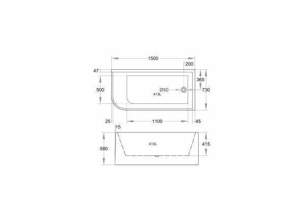 CORNER 1500mm Back to Wall Bathtub (Right) – 580mm height 2