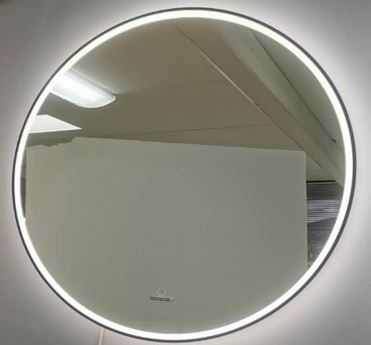 750x750mm LED Round Mirror with Black Frame