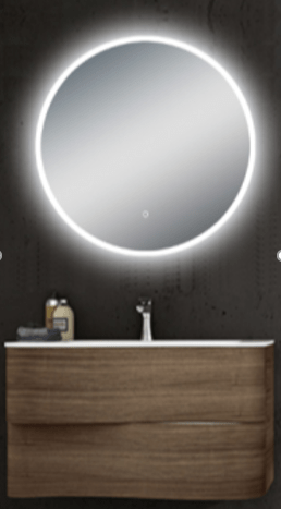 750x750mm LED Round Mirror with Black Frame 2