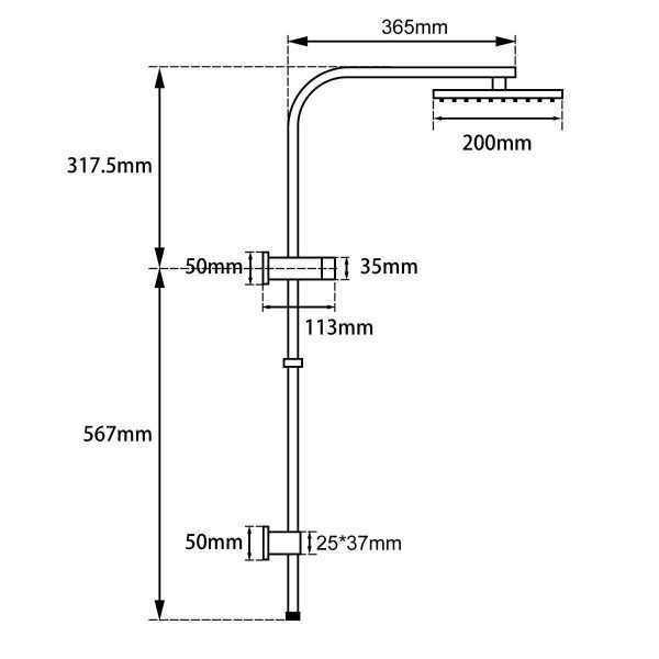 """8"""" Square Chrome Shower Station Top Water Inlet 4"""