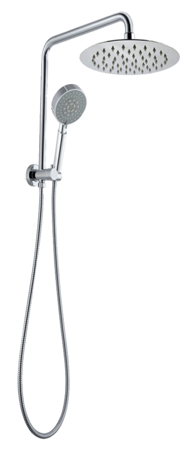 8'' 530mm Height Round Chrome Shower Station Top Water Inlet