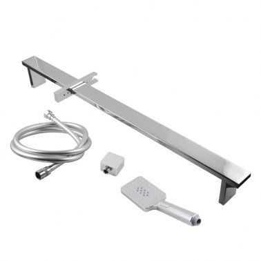 Square Chrome Sliding Shower Rail with 3 Mode Handheld Shower 2