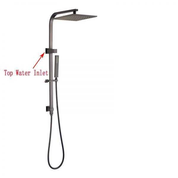 10″ Square Gun Metal Grey Shower Station(ABS/Brass,Top Water Inlet)
