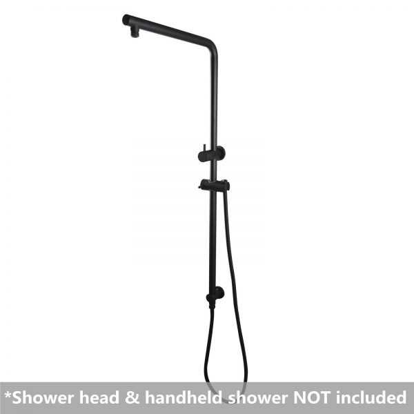 """8"""" Right Angle Round Black Shower Station Top Inlet 2"""