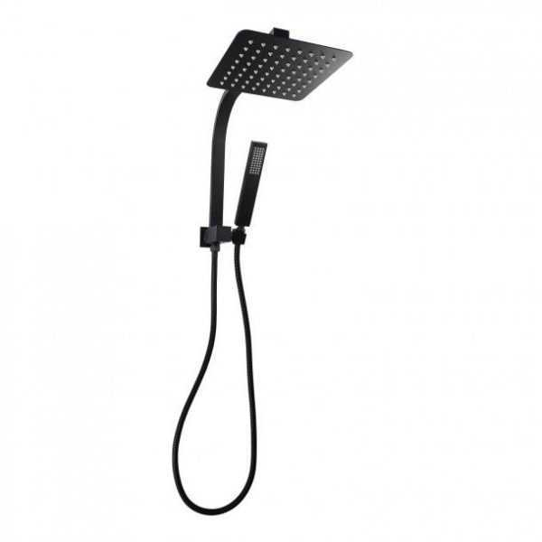 """8"""" Square Black Shower Station Top Water Inlet"""