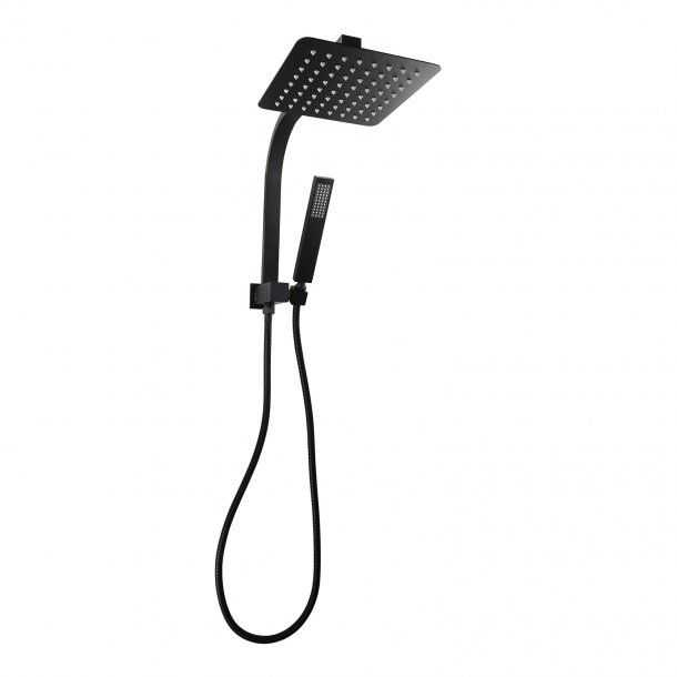 8'' Square Black Shower Station Top Water Inlet