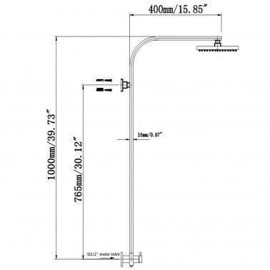 Square Black Shower Station Bottom Water Inlet Wide Rail 4