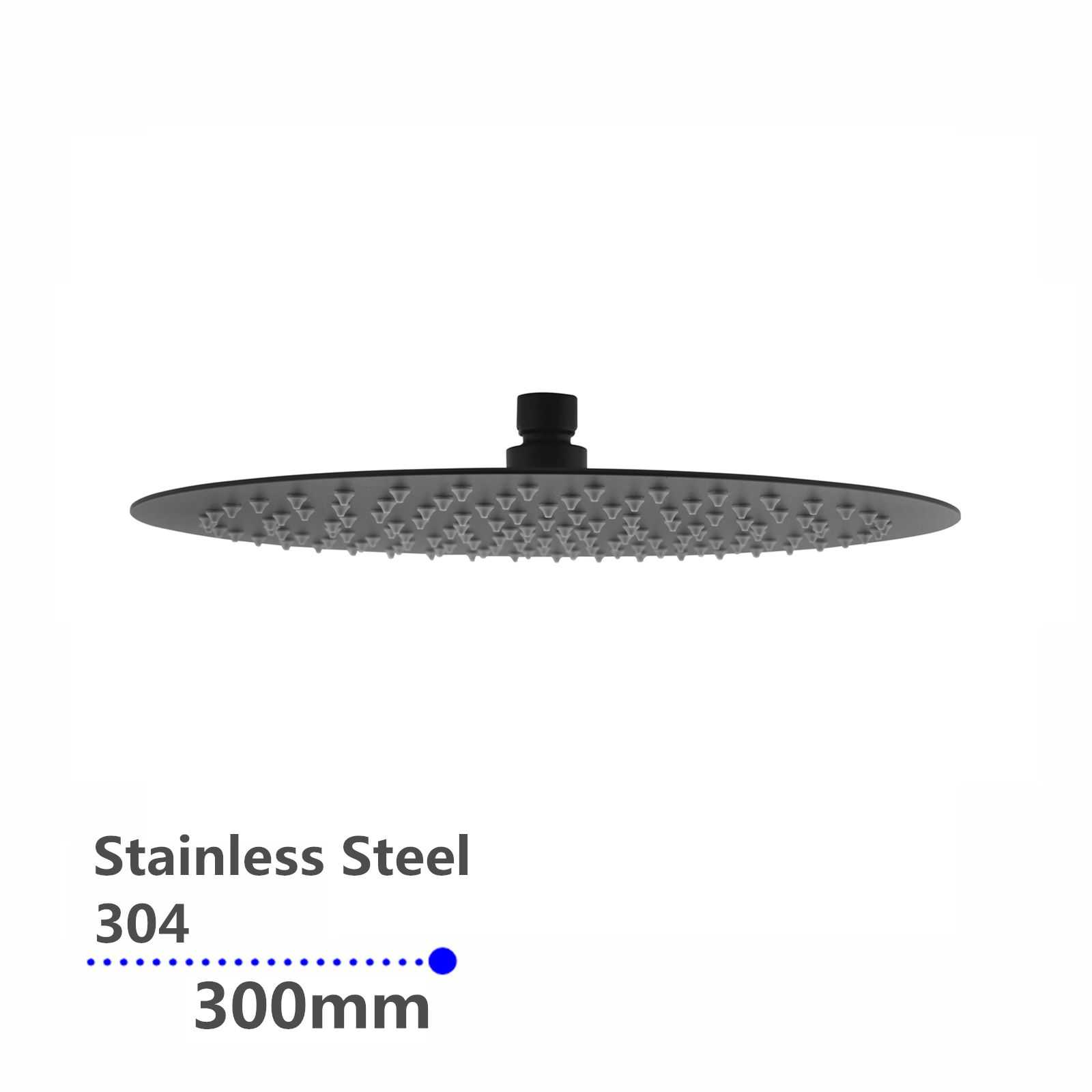 Super-slim Round Black Rainfall Shower Head 300mm