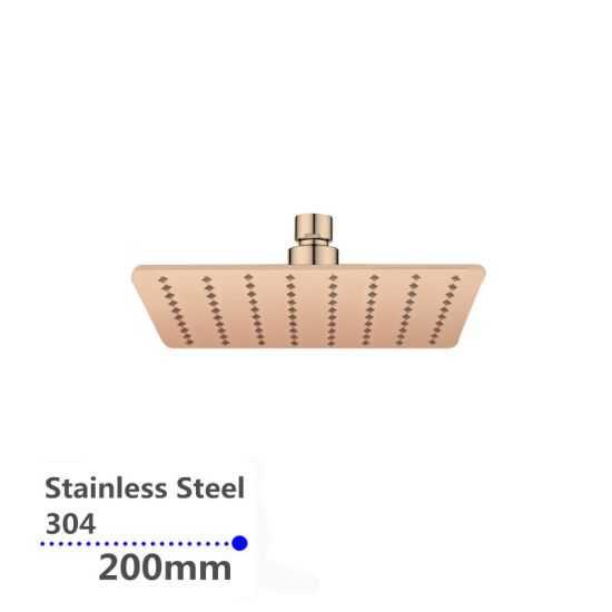 Super-slim Square Rose Gold Rainfall Shower Head 200mm