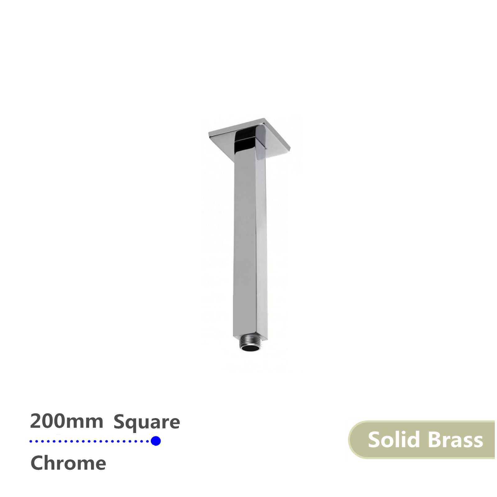 Square Chrome Ceiling Shower Arm 200mm
