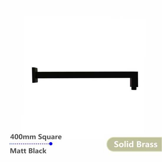 Square Black Wall Mounted Shower Arm 400mm