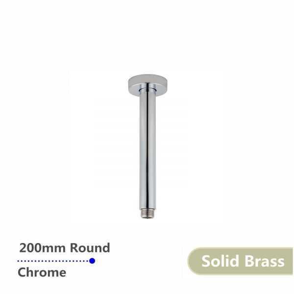 Round Chrome Ceiling Shower Arm 200mm