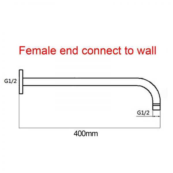 300mm Chrome Round Wall Shower Arm 4