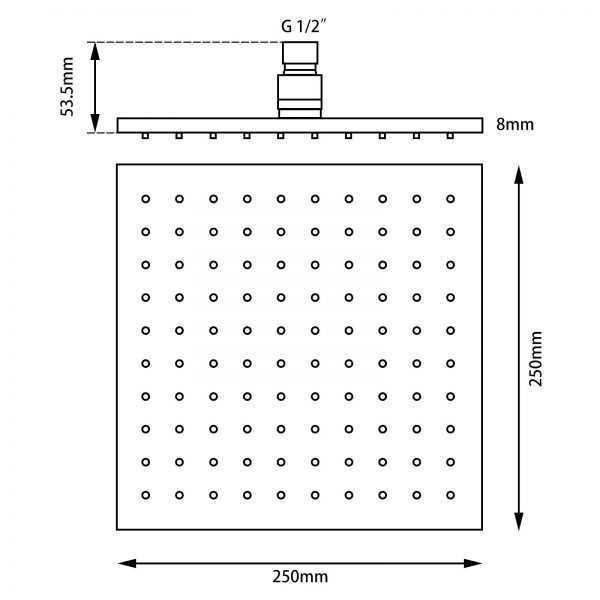 Square Black LED Rainfall Shower Head 250mm 3