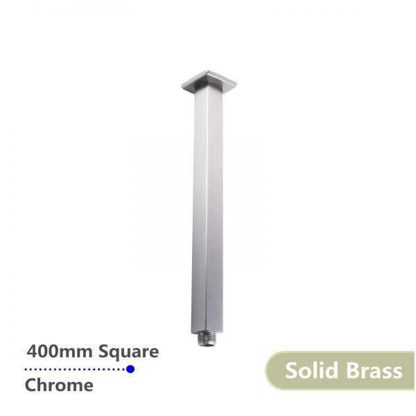 Square Chrome Ceiling Shower Arm 400mm