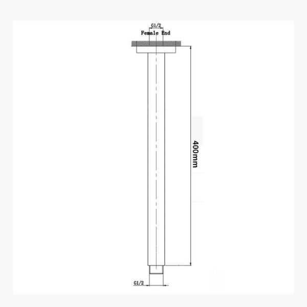 Square Black Ceiling Shower Arm 400mm 4