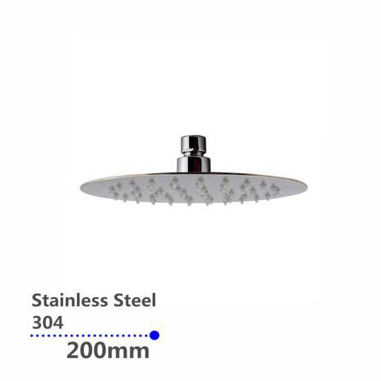 Super-slim Round Chrome Rainfall Shower Head 200mm