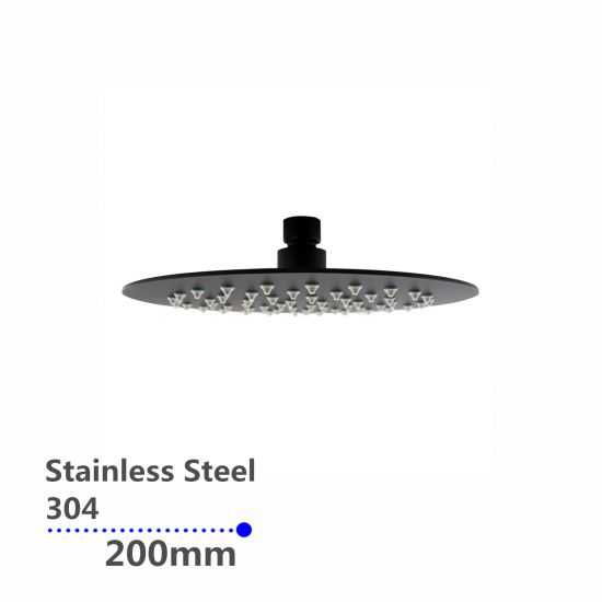 Super-slim Round Black Rainfall Shower Head 200mm