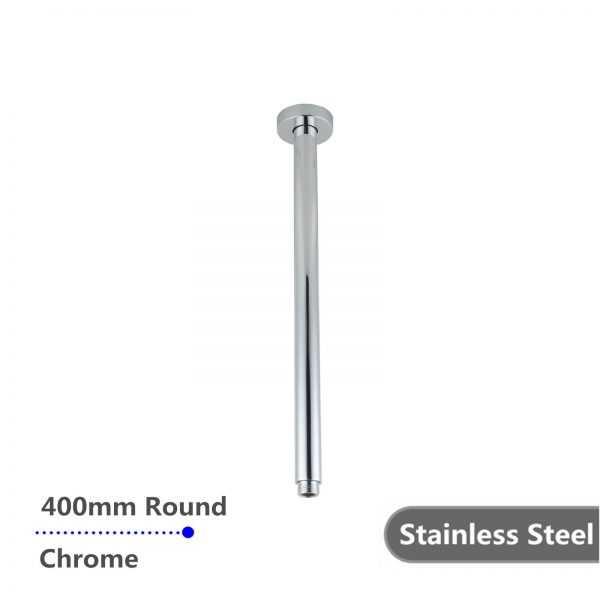 Round Chrome Ceiling Shower Arm 400mm