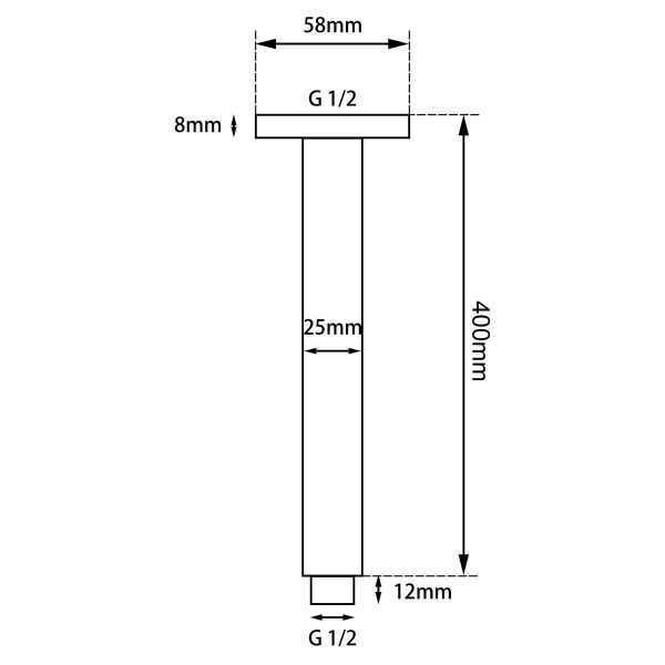 Round Chrome Ceiling Shower Arm 400mm 5