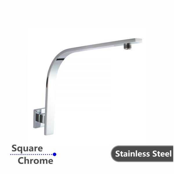 Square Chrome Gooseneck Wall Shower Arm