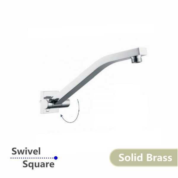 Square Chrome Swivel Wall Mounted Shower Arm