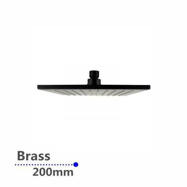 Square Black Rainfall Brass Shower Head 200mm