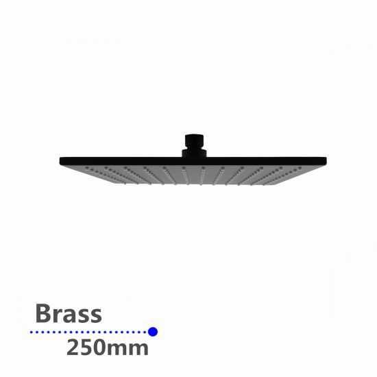 Square Black Brass Rainfall Shower Head 250mm