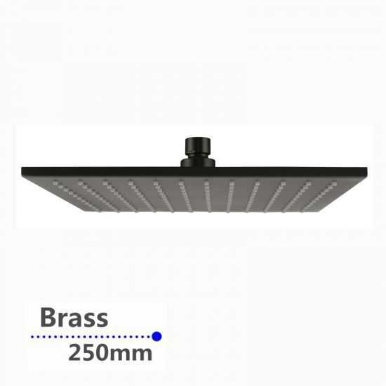 Square Gun Metal Grey Brass Rainfall Shower Head 250mm