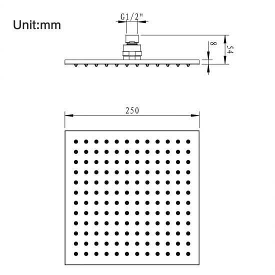 Square Gun Metal Grey Brass Rainfall Shower Head 250mm 4
