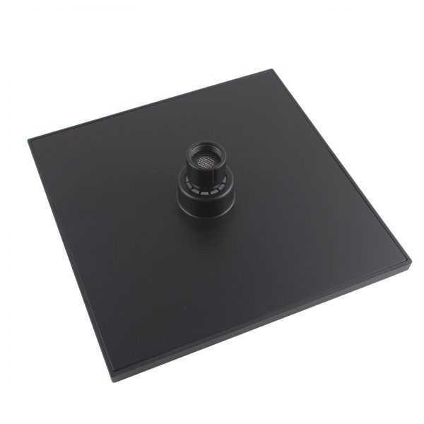 Square Black ABS Rainfall Shower Head 200mm 2