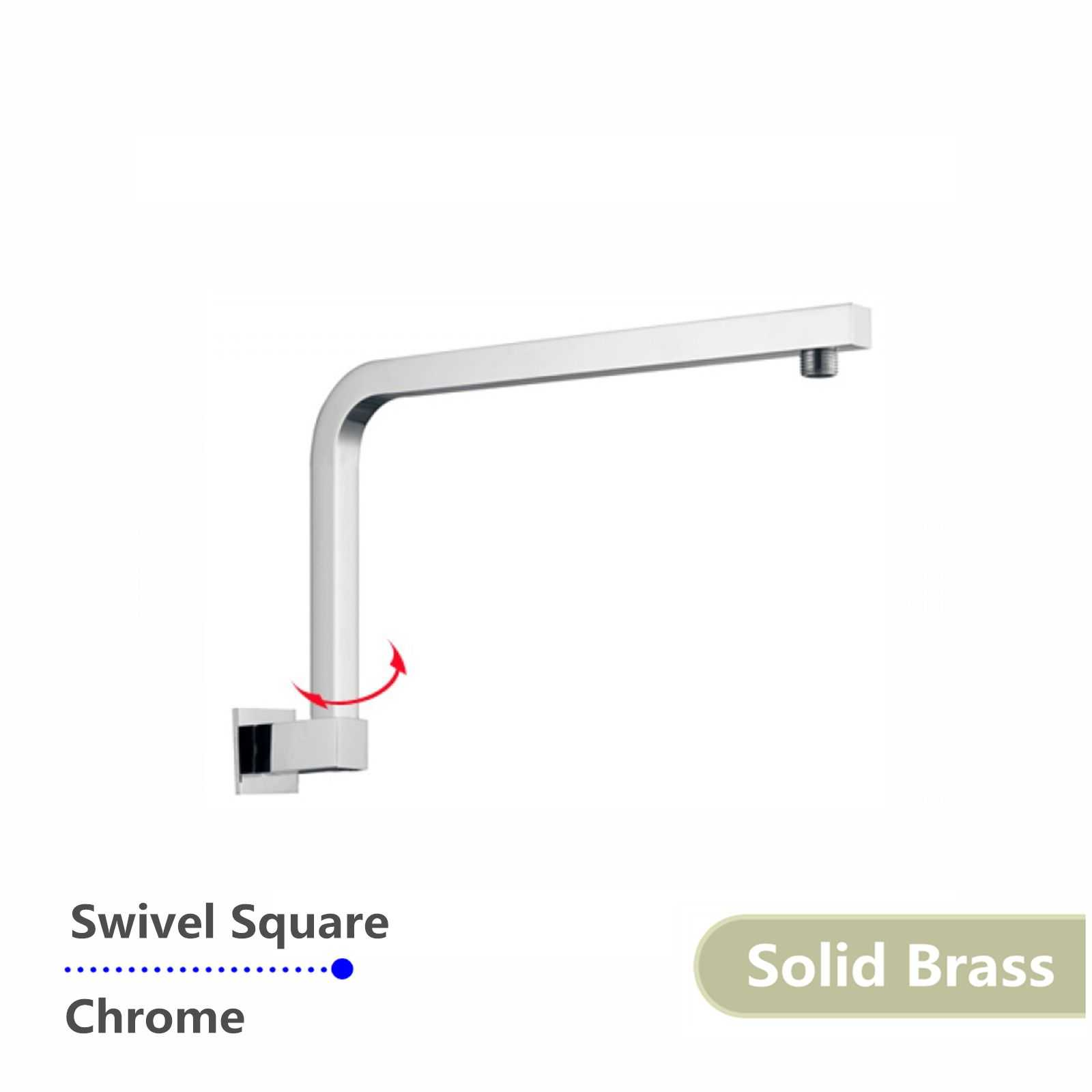 Square Swivel Chrome Shower Arm