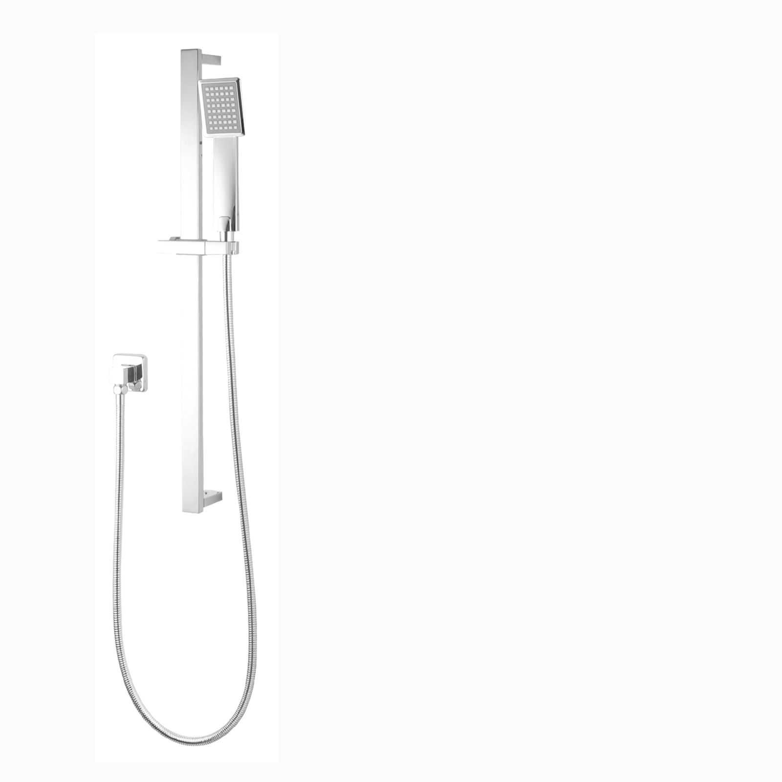 Square Chrome Handheld Shower Rail