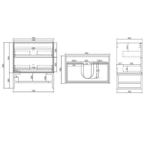 750mm Boston Matte Grey Wall Hung Vanity 4