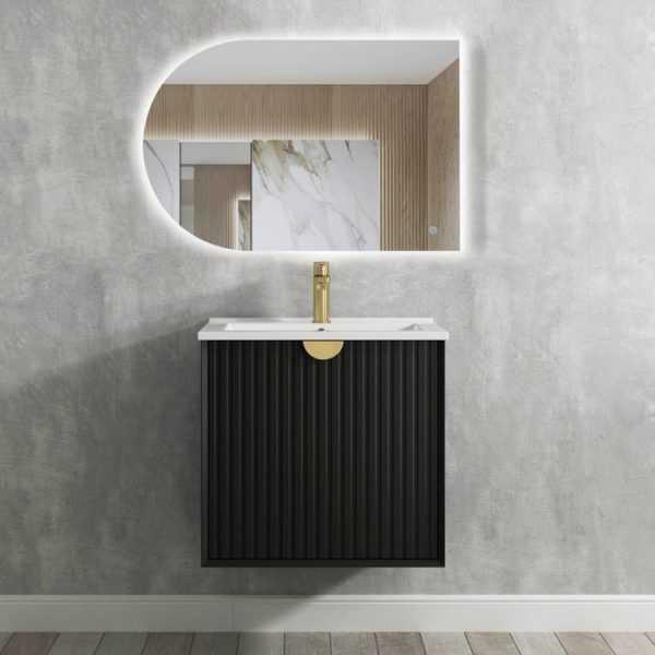 600mm Marlo Matte Black Wall Hung Vanity