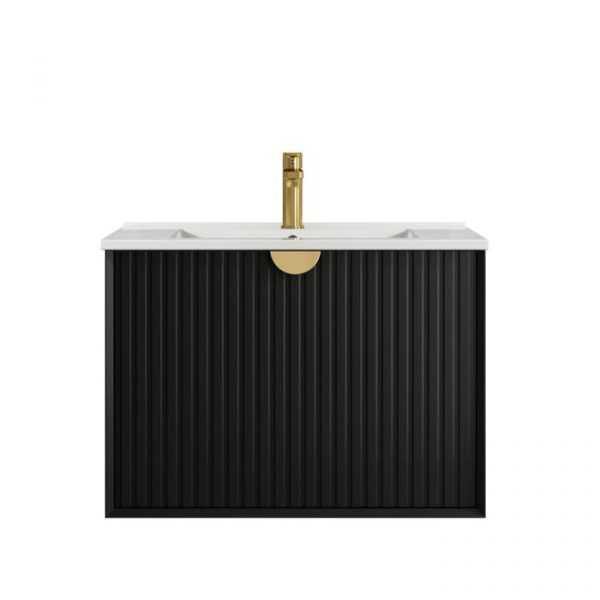 750mm Marlo Matte Black Wall Hung Vanity