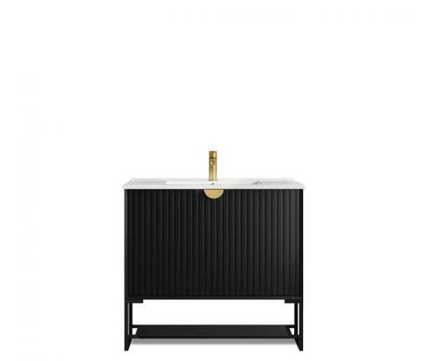 900mm Marlo Matte Black Wall Hung Vanity 4
