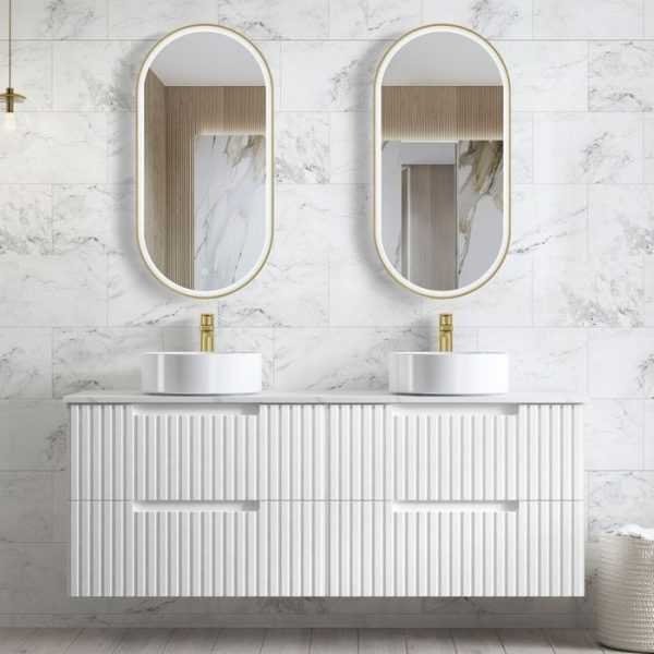 1500mm Noosa Matte White Wall Hung Vanity (Double Bowl) 6