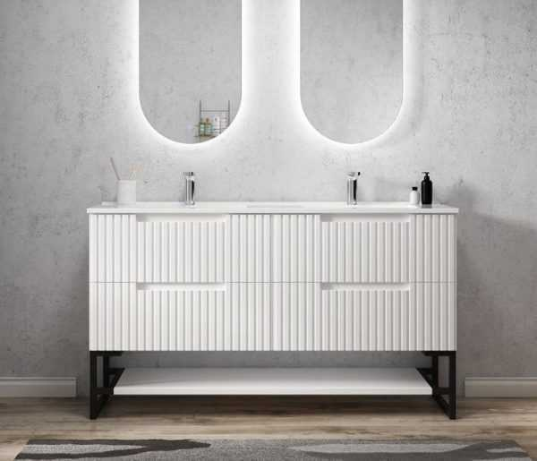 1500mm Noosa Matte White Wall Hung Vanity (Double Bowl) 4