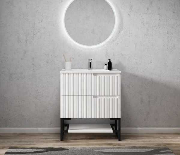 750mm Noosa Matte White Wall Hung Vanity 4