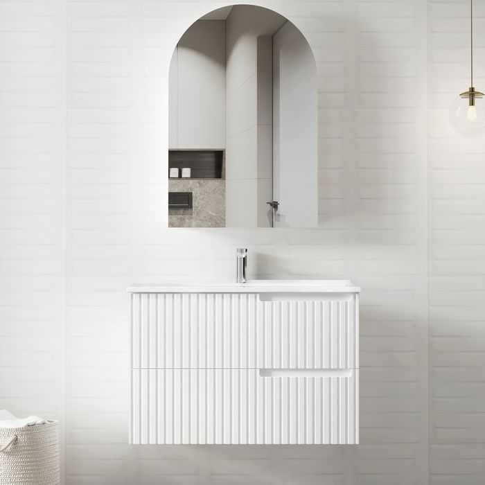 900mm Noosa Matte White Wall Hung Vanity