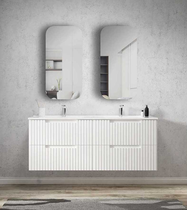 1500mm Noosa Matte White Wall Hung Vanity (Double Bowl)
