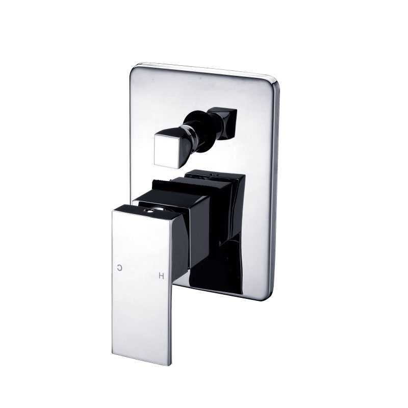 ECKIG Chrome Wall Mixer with Diverter