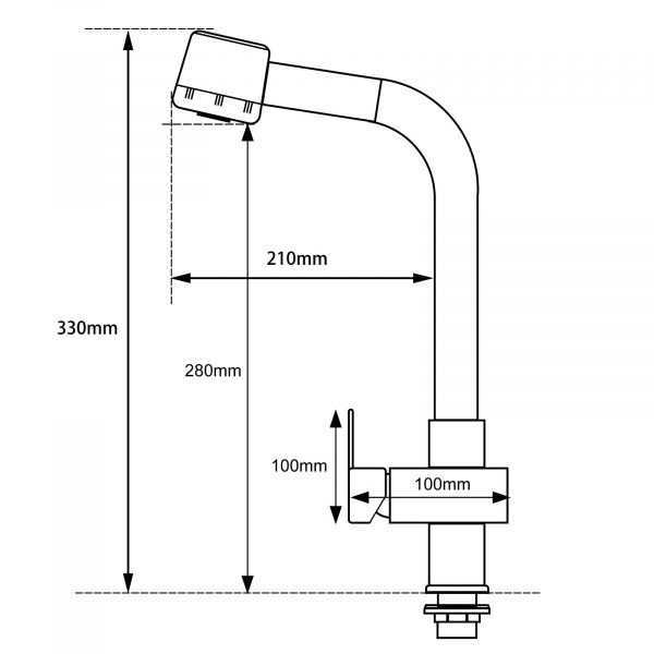 Chrome Pull Out Sink Mixer 3