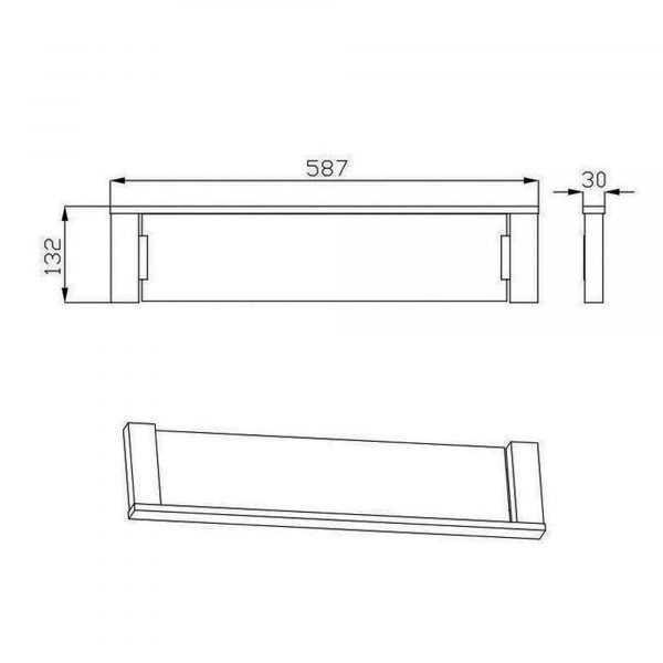SS ECKIG Chrome Glass Shelf 2