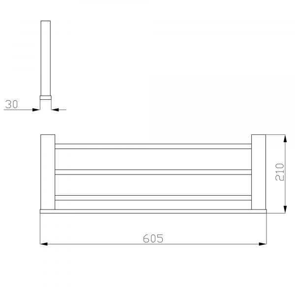 SS ECKIG Chrome Towel Rack 2