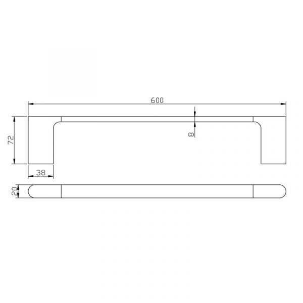 KOMPAKT RUND Chrome 600mm Single Towel Rail 2