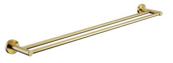 RUND 790mm Brushed Gold Double Towel Rail